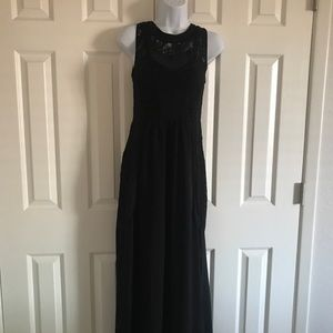 Long Black Dress with lace and sheer details